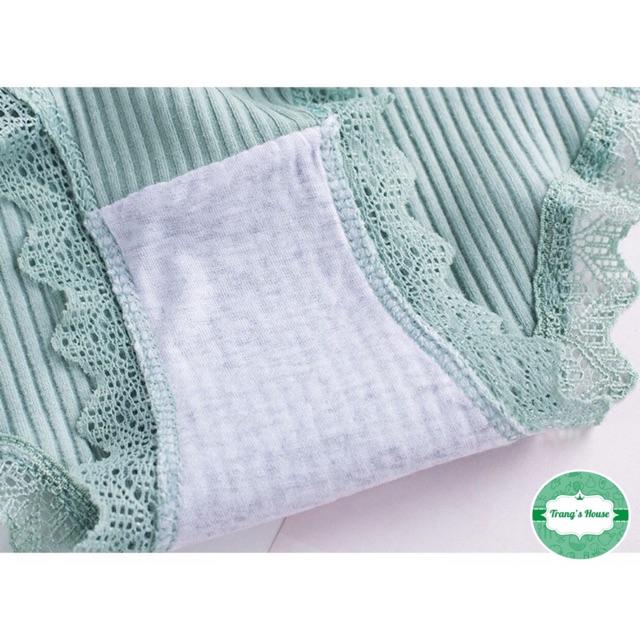 Quần lót nữ, quần cotton gân tăm viền ren cực mềm mịn [Có video quay thật]