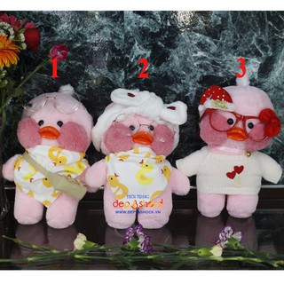 Quà tặng dễ thương thú bông vịt lalafanfan màu hồng 30cm có phụ kiện đi kèm