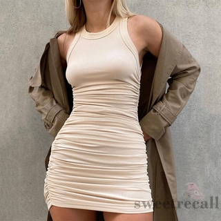 SWT-Women Fashion Sleeveless Ruched Stylish Solid Color Dress for Ladies Female
