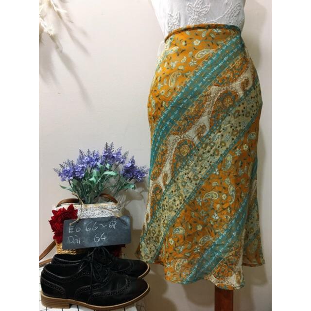 Chân váy bút chì chất mát hoạ tiết vintage Nhật