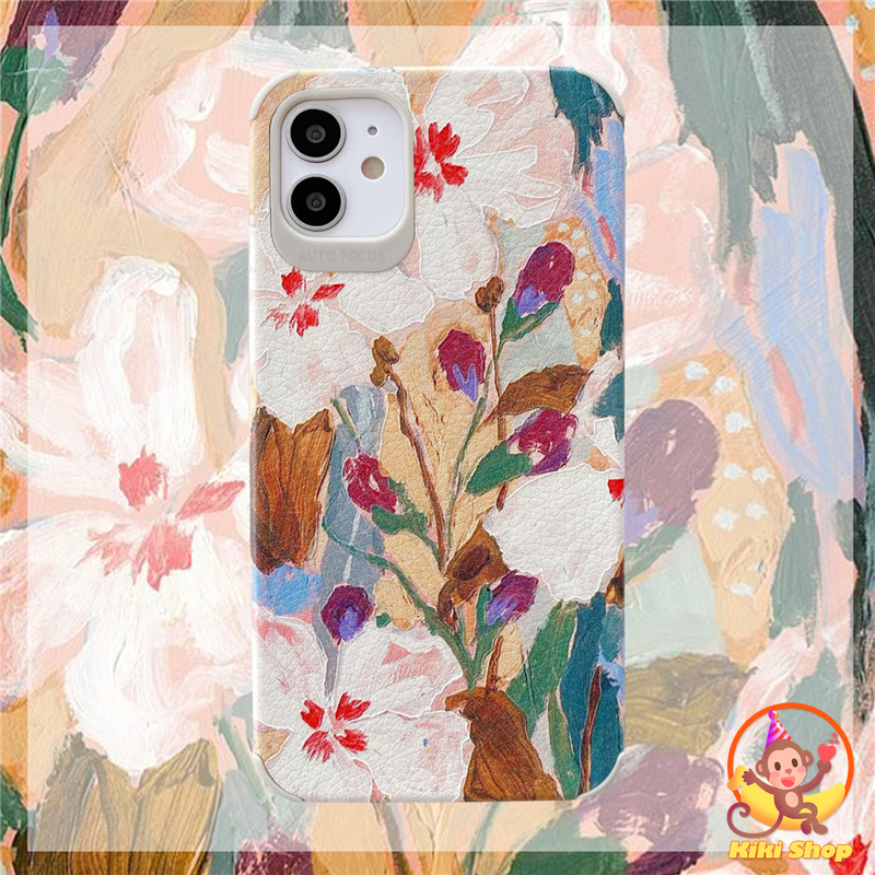 Jasmine Flower Phone Case for IPhone 12 11 Pro Max XR Xs Max 7 8 Plus Retro Oil Painting Leather Soft TPU Silicone Back Cover