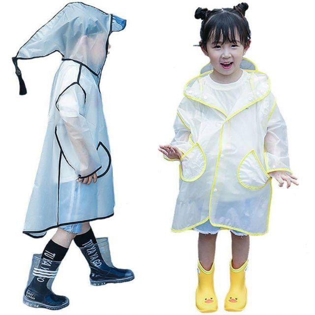 Áo mưa nón viền cho bé siêu dễ t