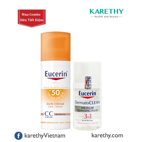 COMBO Kem Chống Nắng Trang Điểm Eucerin + Nước Tẩy Trang DermatoCLEAN 3in1