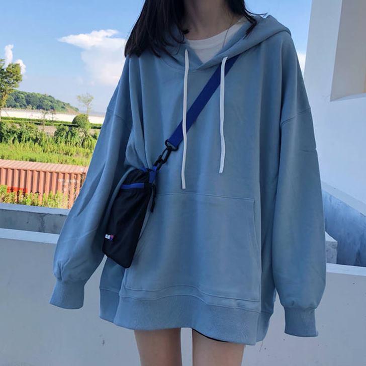Áo sweater có mũ trùm cỡ lớn thoải mái cho nữ