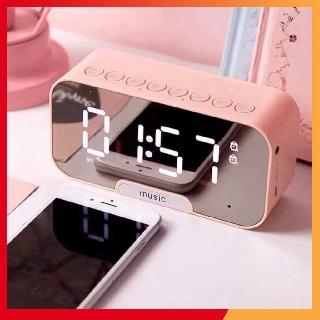 Loa bluetooth mini ️FREESHIP️Loa mini, loa điện tử để bàn mặt gương tràn viền kèm đồng hồ báo thức 2021