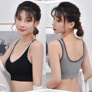 Áo Bra Gym Yoga gân tăm đen ghi viền cổ lọa đẹp