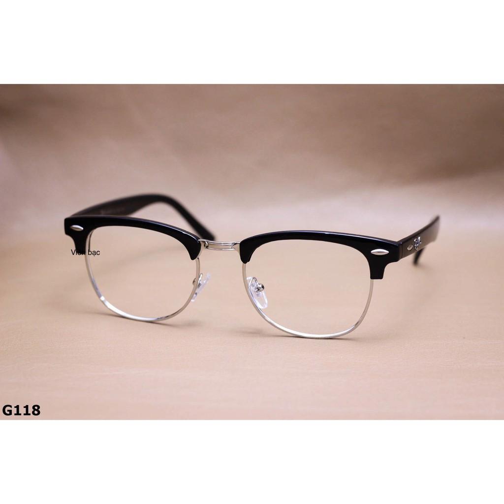 Kính cận/ giả cận nửa viền Clubmaster cho nam/nữ -Lắp Mắt Cận-Loạn-Viễn - [MKLH]