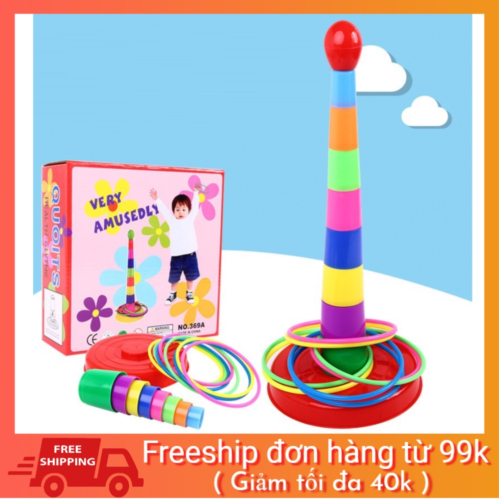 [SALE NGÀY CUỐI] Bộ đồ chơi xây tháp ném vòng nhiều màu sắc rèn luyện khả năng khéo léo cho bé