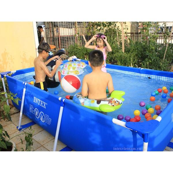 Bể bơi lắp ghép khung kim loại cao cấp 4.5m x 2.2m x 84cm 28273 Siêu KM quà trị giá 300k, 2 bịt tai, 2 phao tròn, 2 bóng