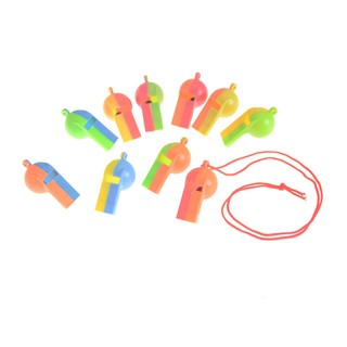 NBY❤❤10PCS Plastic Whistle Wanyard Children Kids Party Bag Filler Toys