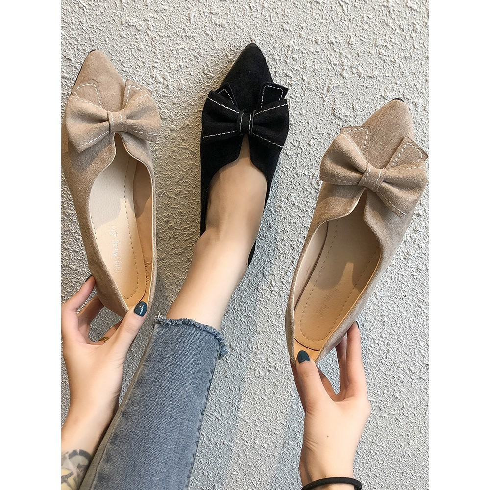 2019 new pointed flat single shoes female spring wild bow on