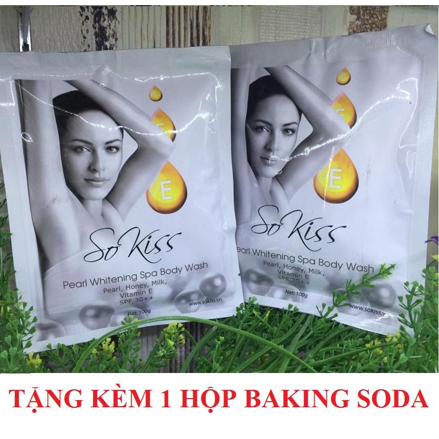 Tắm trắng ngọc trai Sokiss Pearl Whitening Spa Body Wash 100g + Tặng 1 hộp bột tẩy trắng răng Baking