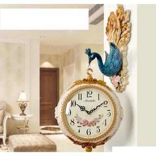 Đồng hồ treo tường 2 mặt cao cấp chim Khổng tước sáng tạo nghệ thuật