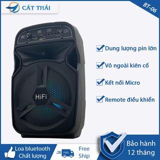 Loa bluetooth BT-06 tặng kèm Micro hỗ trợ chức năng FM kết nối thẻ nhớ TF cổng USB dây AUX Karaoke Remote điều khiển