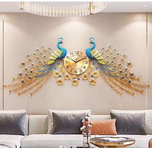 Đồng hồ treo tường nghệ thuật đôi Chim Công TX39_145*75 | Shopee Việt Nam