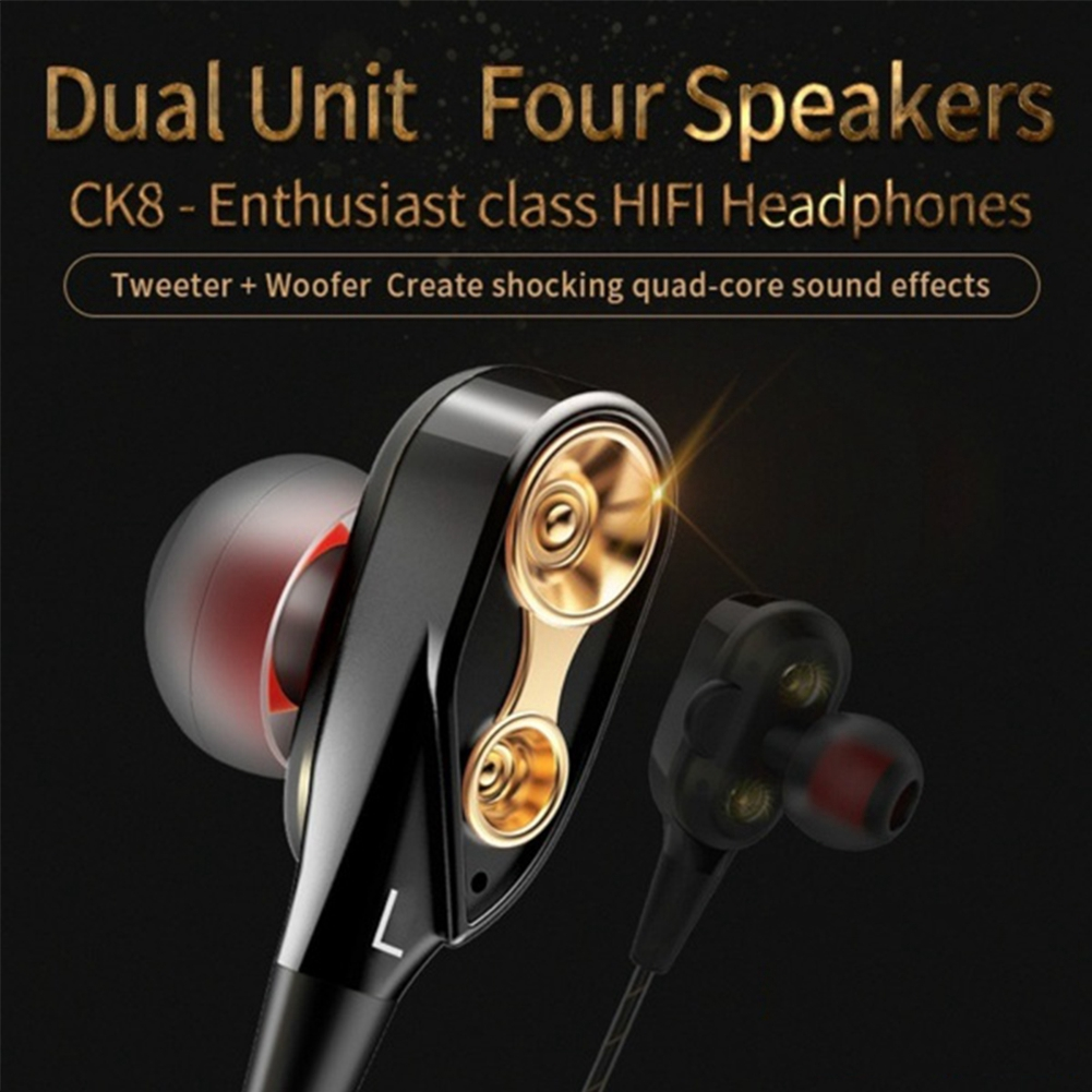 3.5mm Stereo Headset In-Ear Earphones Hands Free Gaming Headphones Bass Earbuds With Microphone Dual Driver