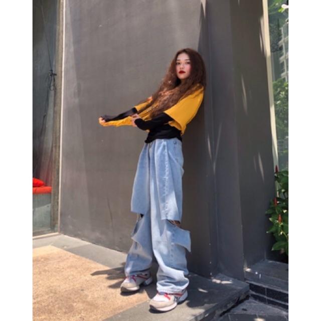 Quần jeans rách ống rộng MINION CLOTHING cài eo lưng cạp cao quần bò Unisex nam nữ Ulzzang chất jean cao cấp Q033