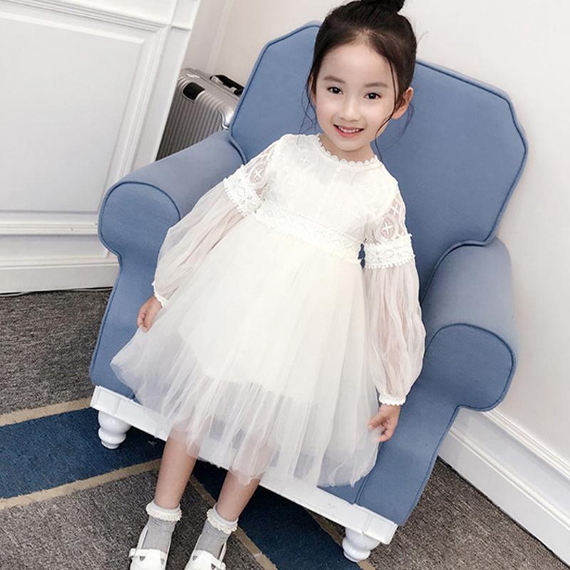 Váy xòe tay dài phong cách công chúa cho bé gái