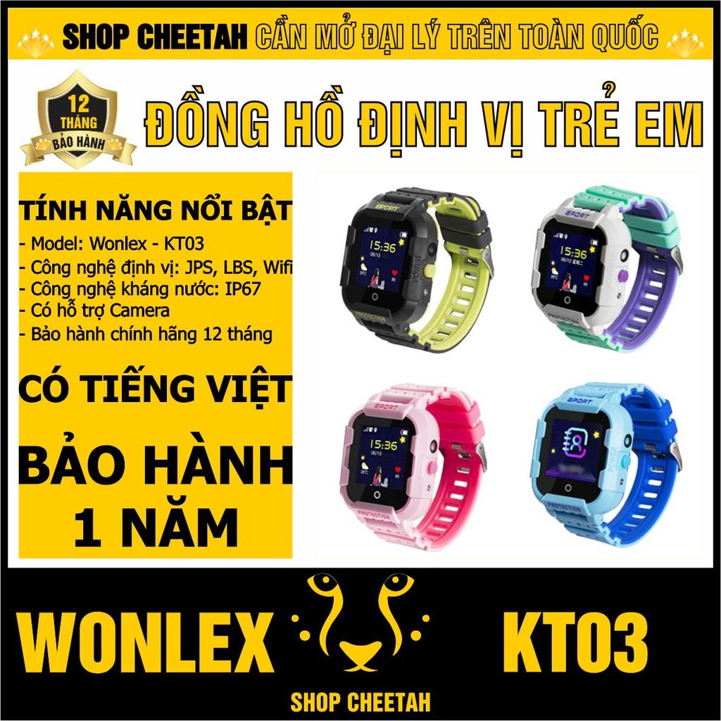 Đồng hồ định vị trẻ em Wonlex KT03 – CHÍNH HÃNG – Kháng nước IP67 – Camera – Định vị Wifi/Lbs/Gps/Agps – Tiếng Việt