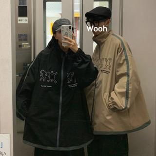 Áo Khoác Bóng Chày Phối Khóa Kéo Phong Cách Hàn Quốc Cho Cặp Đôi
