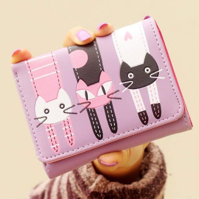 Ví nhỏ 3 mèo con, vi nho, Ví xinh xắn, videp, vinu, vinu cầm tay thời trang