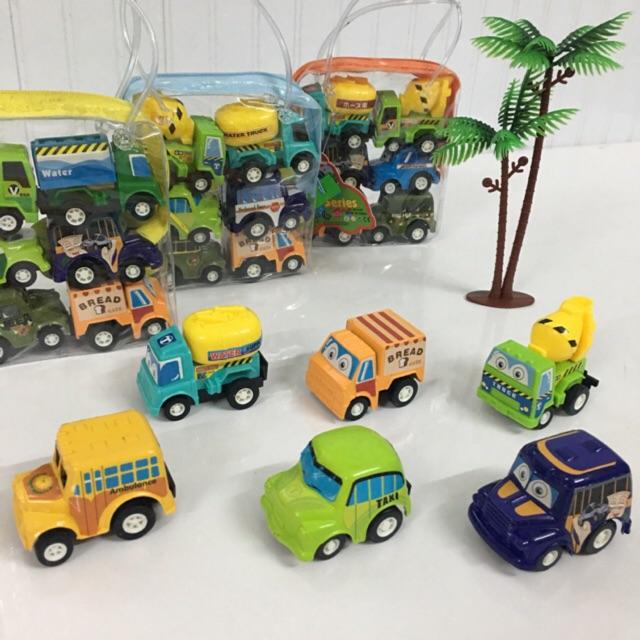 Túi 6 ô tô đồ chơi chạy cót. Xe Công Trình nhỏ xinh cho bé
