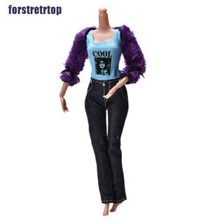 【FSTTTOP】3 Pcs/Set Fur Coat Suit for Barbie Dolls Black Pants Fur Purple Coat