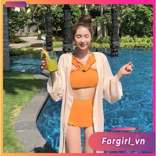 Bikini 2 mảnh cổ chéo Quảng Châu màu vàng nữ tính tôn dáng thumbnail