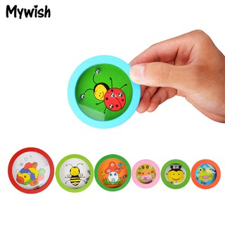 ❤⚽Cartoon Animal Wooden Pocket Puzzle Maze Balanced Balls Kids Toys