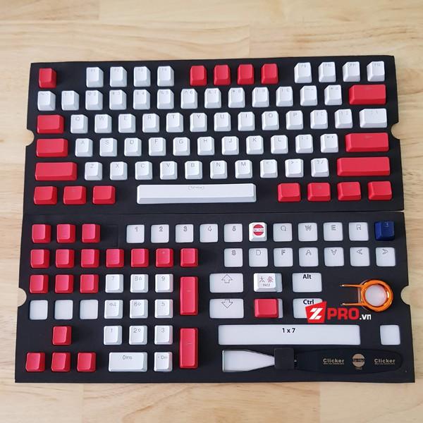 Bộ Keycap PBT 104 phím Taihao Red - White