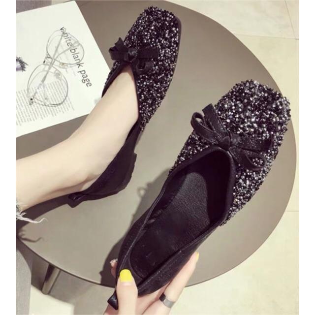 Giày búp bê đính đá siêu đẹp(bên ngoài đẹp hơn trong ảnh)