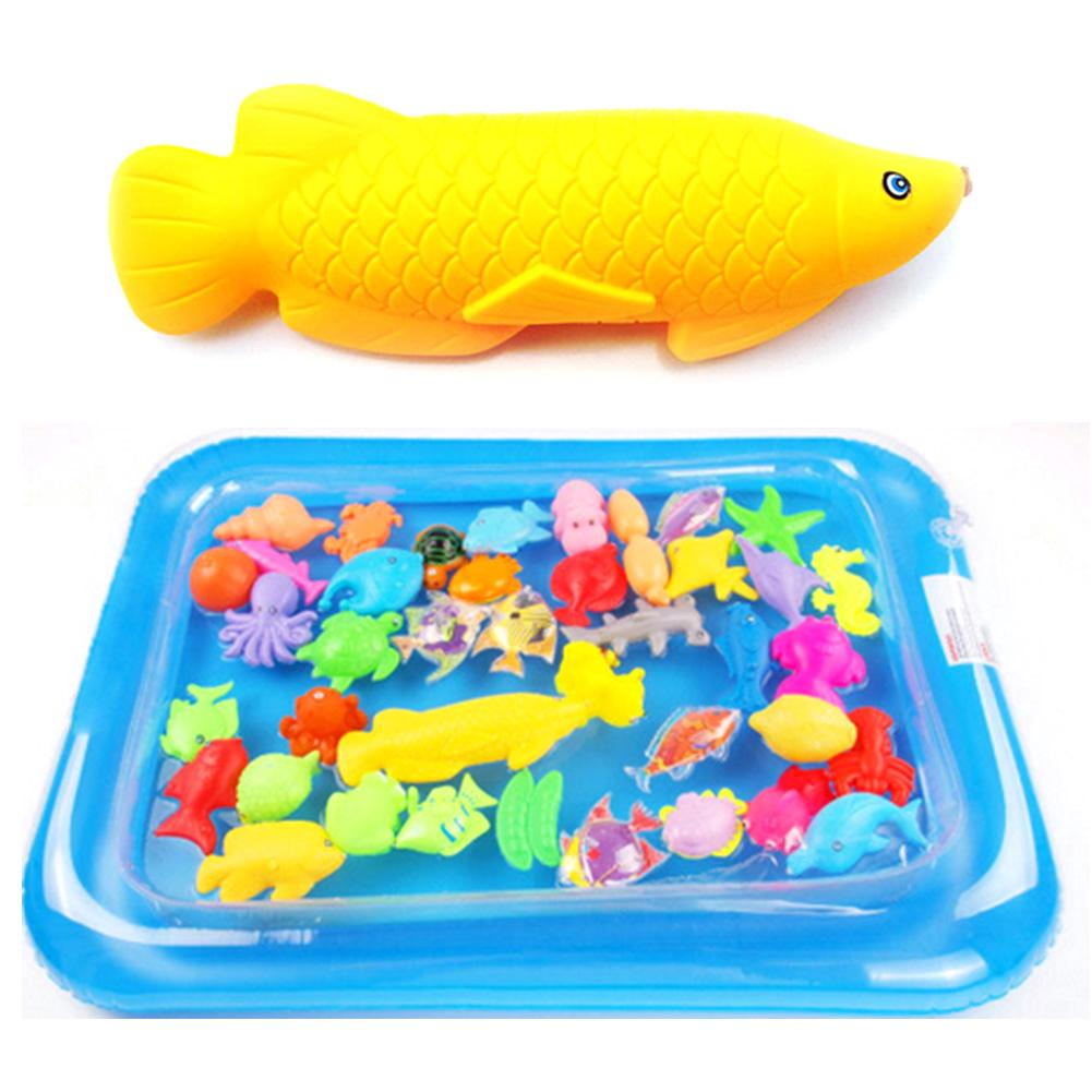 40/50pcs Magnetic Fishing Toy Game Kids 3D Fish Rod Baby Bath Toys Outdoor Funny Set