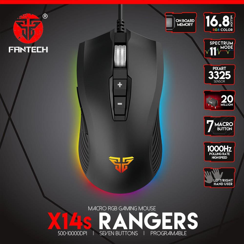 Chuột Gaming Có Dây Fantech X14s RANGERS 10000DPI LED RGB 16,8 Triệu Màu 7 Phím Macro - Hãng Phân Phối Chính Thức