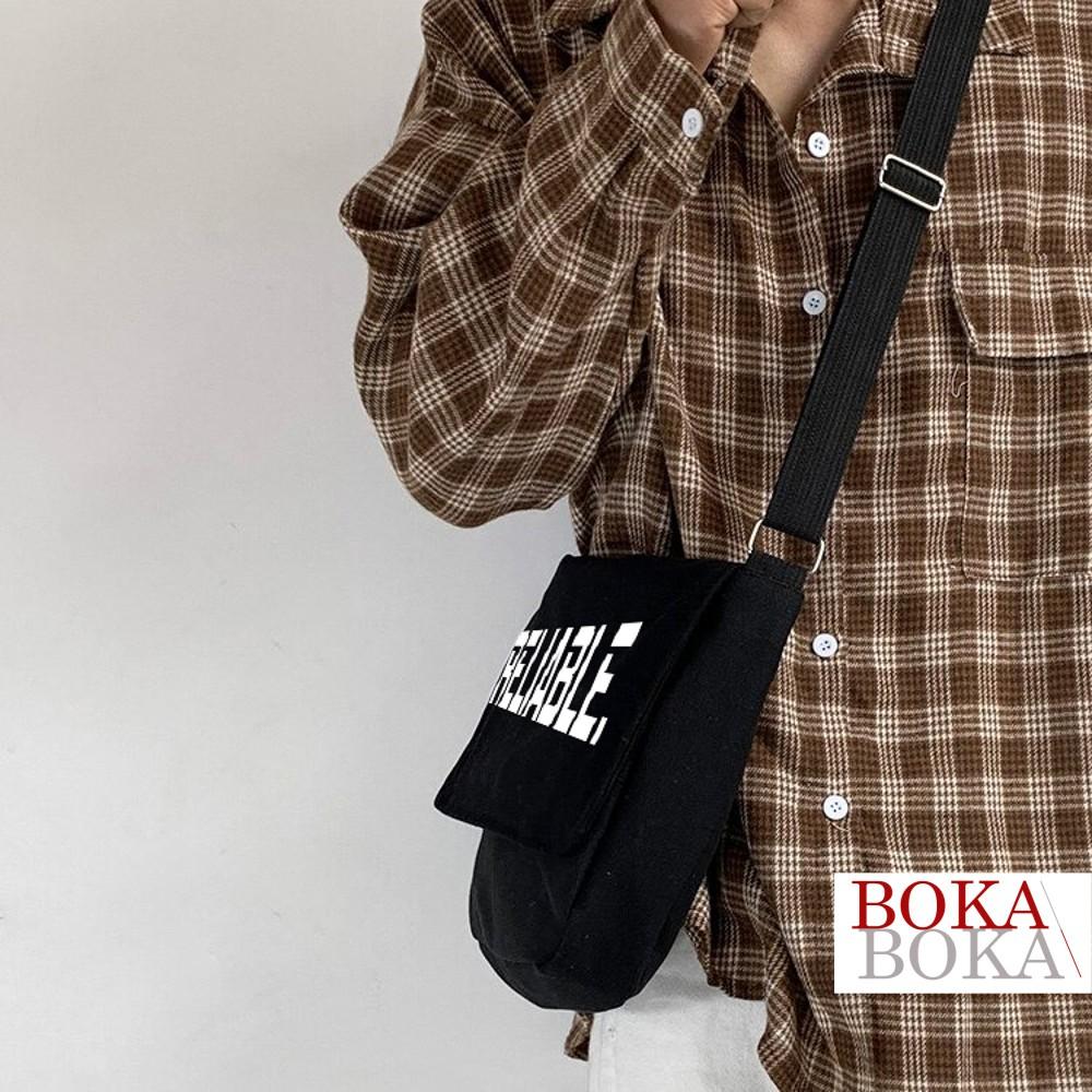 Túi vải đi học Vải Canvas Đeo Chéo In Chữ Reliable Unisex Nam Nữ