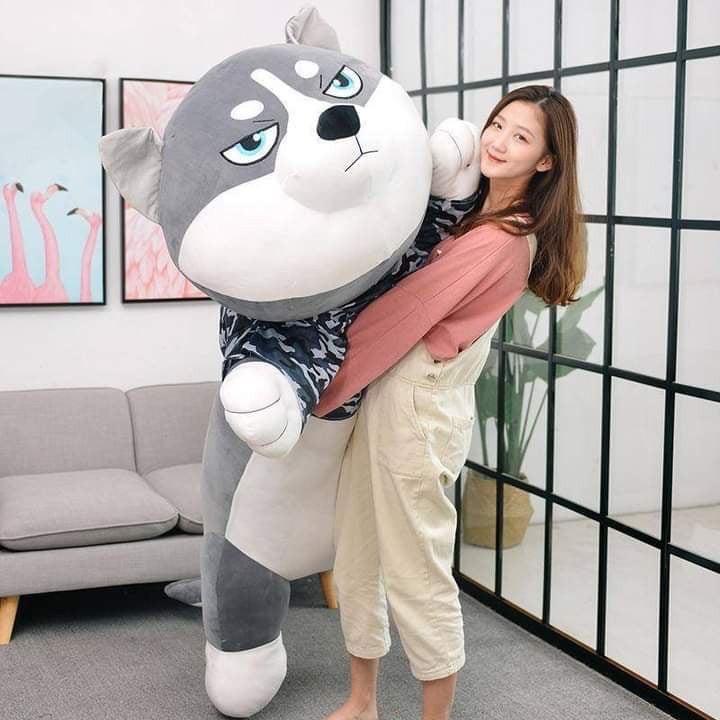 Chó Husky Nhồi Bông Mặt Ngáo Siêu Đẹp, Cute – Qùa tặng Gấu Bông Dễ Thương GB11 – Bơ Xinh