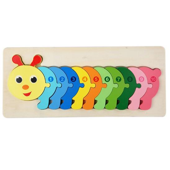 Đồ chơi tranh ghép nối 10 số - ghép tưng ứng số 1-10 cho bé 30x12,8 Cm