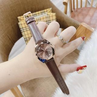 Đồng hồ nữ GUCCI dây da nâu sang trọng, thiết kê tinh tế thời thượng, chống nước, bảo hành 12 tháng, full box