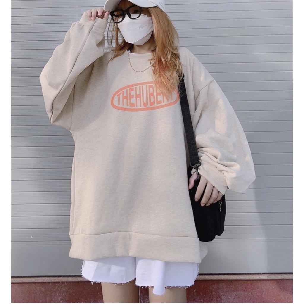 Áo nỉ sweater nam nữ unisex TheHuBert form rộng,Sweater unisex dáng rộng tay bồng Ullzang Hàn Quốc S36