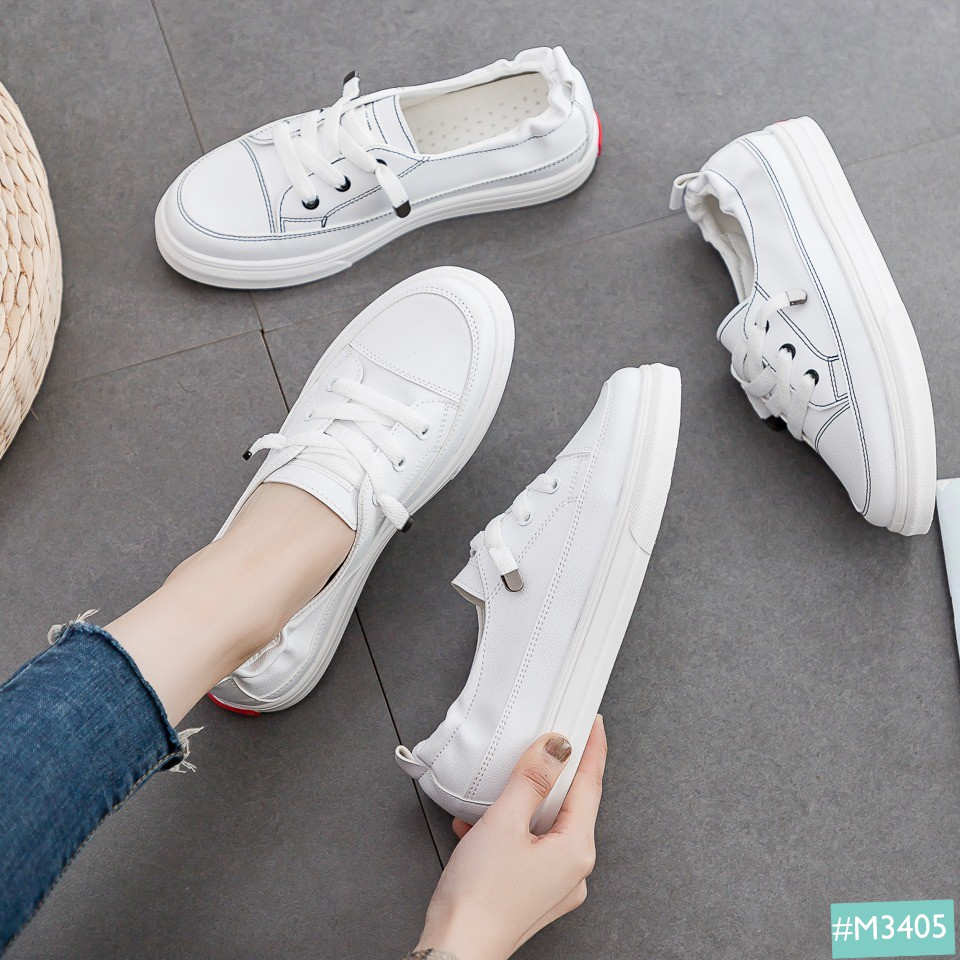Giày Bata Nữ Trắng Slip On MINSU M3405 Phong Cách Giày Thể Thao Sneaker Hàn Quốc Tối Giản Dễ Dàng Mix Khi Đi Học Đi Chơi