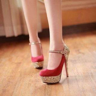 Giày cao gót bít mũi kim tuyến da lộn 11 phân