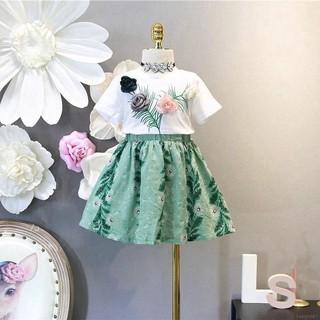 Bộ áo thun ngắn tay + chân váy hoa mùa hè cho bé gái