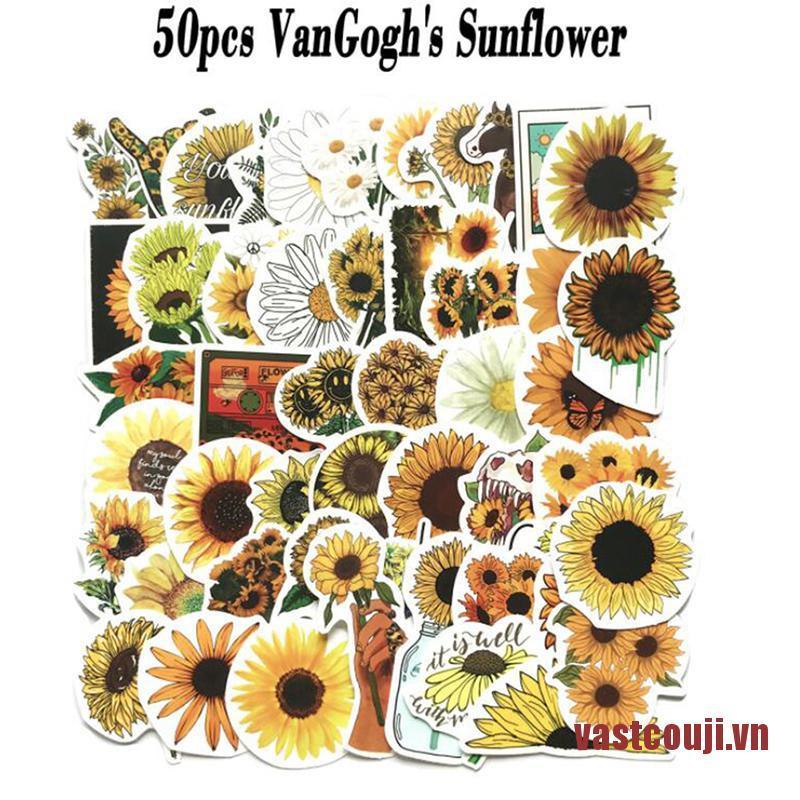 VastcouJI 50pcs Flower Stickers Notebooks Stationery Scrapbooking Craft Supplies St