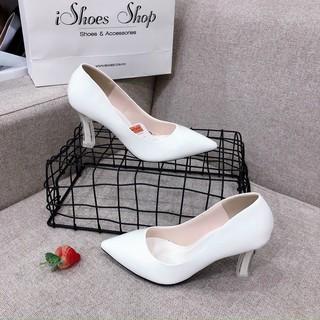 Giày cao gót da bóng gót sơn 3 màu đen, trắng, nude - 7P thumbnail