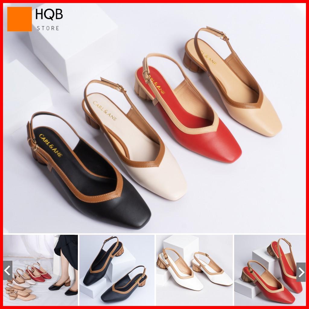 Giày Cao Gót 3Cm Hở Gót Bít Mũi, Có Quai Hậu Màu Đen, Đỏ, Trắng, Kem HQ_005