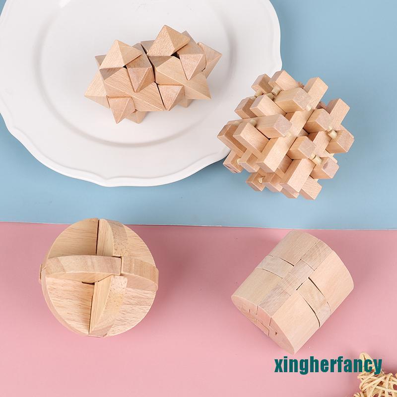XYCC IQ Brain Teaser Lu Ban Lock 3D Wooden Interlocking Burr Puzzles Game Toy XJSS