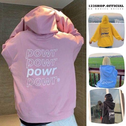 Áo hoodie In Hình POWER unisex, dành cho nam nữ chất nỉ dầy dặn có dây kéo Form Rộng Ulzzang 5 Màu 123SHOP