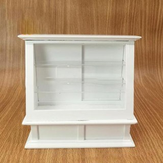 SuneiMiniature Wooden White Cake Display Showcase Display Cabinet For 1:12 Dollhouse