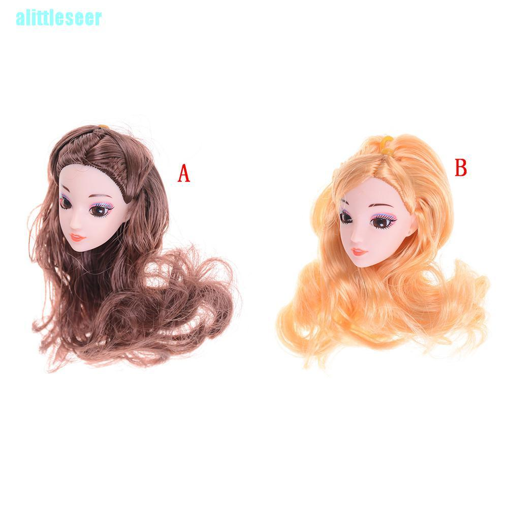 【Per】3D Eyes Head Nake Joints Body Doll Head Toys for Barbie Dolls Long Hair