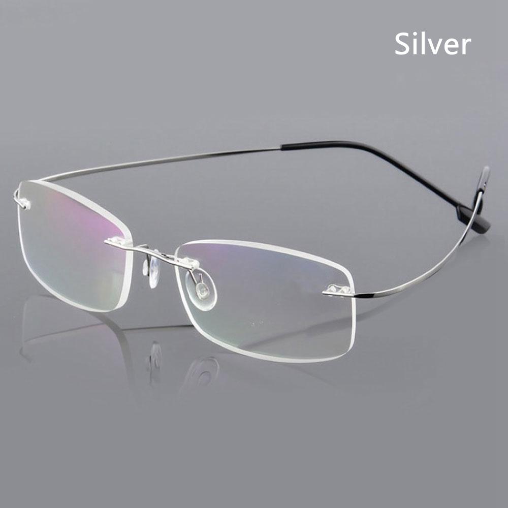 JUNE Health Care Reading Glasses Elder Memory Titanium Eyeglass Ultralight Rectangular Degree Spectacles Unisex Rimless/Multicolor