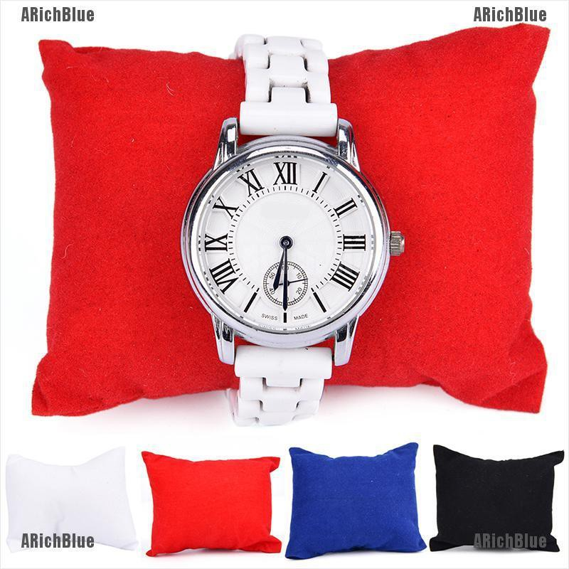 ARichBlue Velvet Leather Bracelet Watch Pillow Jewelry Display Boxes Holder Organizers New